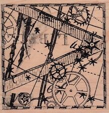 """gears and cogs club stamp  Wood Mounted Rubber Stamp 2 1/2 x 3"""" Free Ship"""