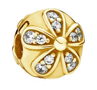 PANDORA Dazzling Daisies Silver Clip Charm 18K Gold Plated 791493CZ Authentic