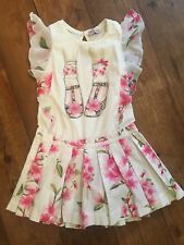 Monnalisa Dress Age 8 Years Sequin Floral Pink