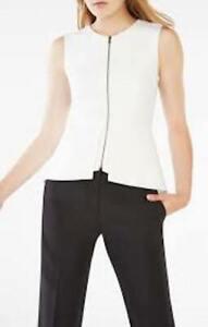 NWT BCBG MaxAzria Abrielle sleeveless Jacket, Vest, Top Off White, Sz L  $218.00