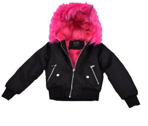 Girls Heavy Lined Hot Pink Hooded Coat Jacket NEW Sizes 4-14 years Black