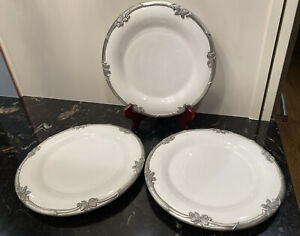 """3 Arthur Court Neiman Marcus 9.25"""" Dinner Plates Silver Butterfly Breast Cancer"""