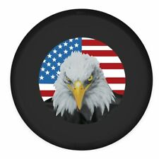 """15"""" Universal Black Spare tire Cover  American Flag Bald Eagle  wheel Covers"""
