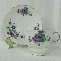 Vintage Colclough England Purple Flowers Bone China Footed Cup & Saucer Set