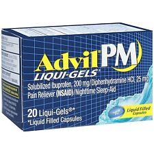 2 Pack Advil PM Liqui-Gels Night Time Pain Reliever 20 Liqui-Gels Each