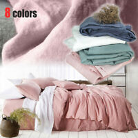 100% Pure Linen Bed Sheet Natural Flax Organic Bedsheet Cover French Comfort