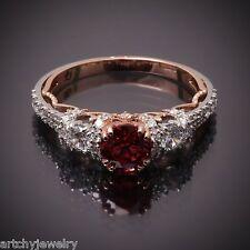 New 18K 2 tone Gold Red Orangish Sapphire deShervin.com Moonlight Series Ring