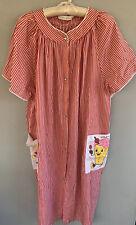 Vintage moo moo dress Kelly Reed Haiti 20W Red Stripe Snaps Diet Humor