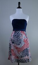 ANTHROPOLOGIE Odille RARE Blue Red White Multi-Color Dotted Greetings Dress Sz 0