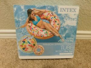 Brand new in box Intex Rainbow Sprinkle Donut pool tube