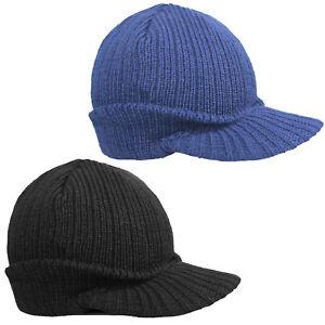 EUROTSHIRTS CLASSIC BEANIE HAT WITH PEAK - BLACK NAVY KNIT CAP