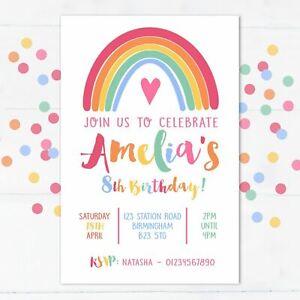Personalised Rainbow Party Invitations, Birthday Invites, 10 with envelopes