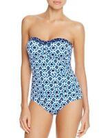 NEW Tommy Bahama Size 6 Blu Shibori Splash Bandeau 1 Piece Maillot Swimsuit $148