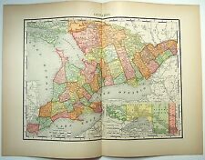 Original 1895 Map of Ontario, Canada by Rand McNally