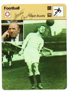 Matt Busby signed 1979 Football Sportscaster Rencontre Fact Card Manchester Utd