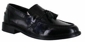 Mens IKON Weaver Black Leather Uppers soles tassel Loafers shoes Size uk 8 42