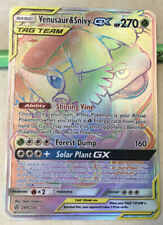 Venusaur & Snivy GX Tag Team 249/236 Secret Rare Rainbow Holo 2019 Mint Pokemon