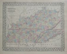 Original Hand Colored 1878 Mitchell County Map KENTUCKY TENNESSEE Railroads