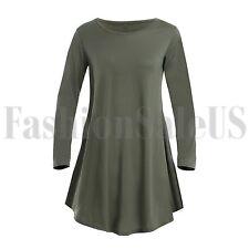 Женский круглый вырез, длинный рукав карманы повседневные качели футболка платья Midi Skater