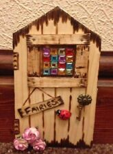 FAIRY DOOR WITH STAINED GLASS WINDOW