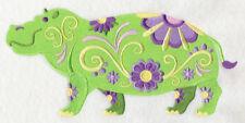 Embroidered Sweatshirt - Flower Power Hippo L5987