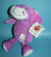 "Plush Appeal Purple Dog 10"" Kiss Me Valentine Soft Toy Mardi Gras Stuffed Animal"