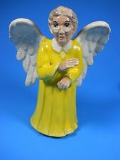 "Grandma, Old Lady Woman ceramic porcelain Angel Figurine yellow Dress 7.75"" tall"