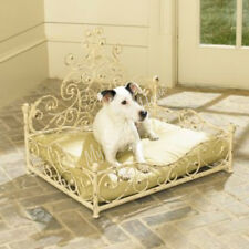 French Iron WHITE SCROLL Dog Pet Cat Bed Victorian Fleur de Lis NEIMAN MARCUS