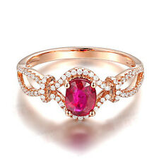 Solid 14K Rose Gold Genuine Natural Diamond Blood Ruby Engagement Wedding Ring