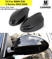 Carbon Fiber Mirror Cover Caps Fit For BMW E90 E91 330i 335i Pre LCI 2005-08