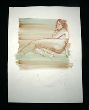 Hawaii Mixed Media Wash Painting Reclining Female Nude Snowden Hodges (Sho)#139