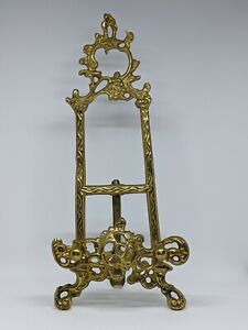 """Vintage Art Nouveau Style 14"""" Tall Solid Brass Art/Plate Stand"""