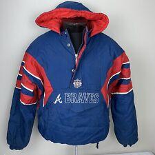 Vintage Starter Jacket Atlanta Braves Pullover Team Winter Coat XL 90s MLB