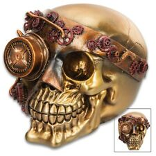 Steampunk Joe Skull Skullpture - Crafted Of Polyresin, Hand-painted Details