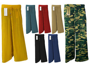 NEW LADIES WOMEN'S FLARED PLEATED PALAZZO TROUSERS BAGGY WIDE LEG PANTS SM-L/XL