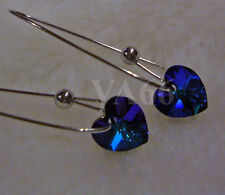 Sw Crystal Heart Love AB Peacock Blue Heliotrope Earrings Colors Anting Kristal