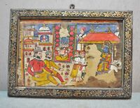 Original Old Antique Hand Painted Water Color Painting on Paper Ethnic Folk King