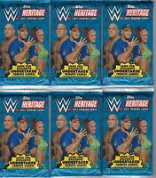 (6) 2017 Topps WWE Heritage Wrestling Trading Cards New 9ct. Retail Pack LOT
