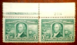 Buffalo Stamps:  Scott #323 Louisiana Purchase Plate # Pair, MVLH/OG & F/VF