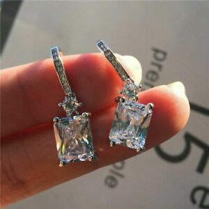 Elegant Women Square Zircon Dangle Drop Earrings Crystal Earrings Jewelry