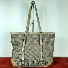 COACH 11527 Gallery Signature Hand Bag Khaki Brown leather Purse Tote Shoulder