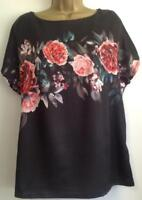 M&S COLLECTION-Textured Satin Front Floral Print-T-shirt-BLACK MIX(BNWT) Size 14