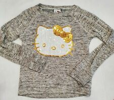 Girls Size Small 7/8 Hello Kitty Ivory/ Black/Gold heathered Sweater sequin