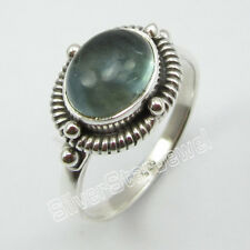 925 Sterling Silver Natural APATITE CLASSIC Ring Size 7.75 Fine Jewelry