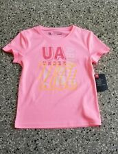 New Under Armour Heat Gear Kids Girls Graphic Pink T-Shirt Top Size: 6