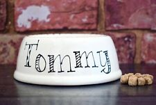 Extra small slanted dog bowl hand painted personalised ceramic cat bowl rabbit