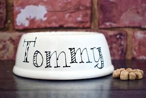 Extra small slanted dog bowl hand painted personalised ceramic cat bowl rabbit