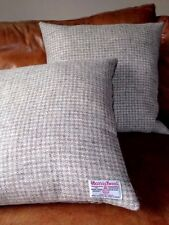 "Harris Tweed Grey Cream White Pastel Taupe Velvet 18"" Cushion cover Rectangle"