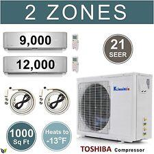 21 SEER Dual Zone Mini Split Air Conditioner Ductless Heat Pump 9000 12000 BTU