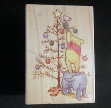 Pooh Bear Christmas Stamp Trimming the Tree Piglet Eeyore 3""